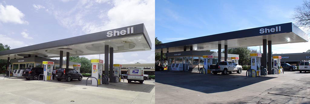 Shell canopy before and after brand conversion